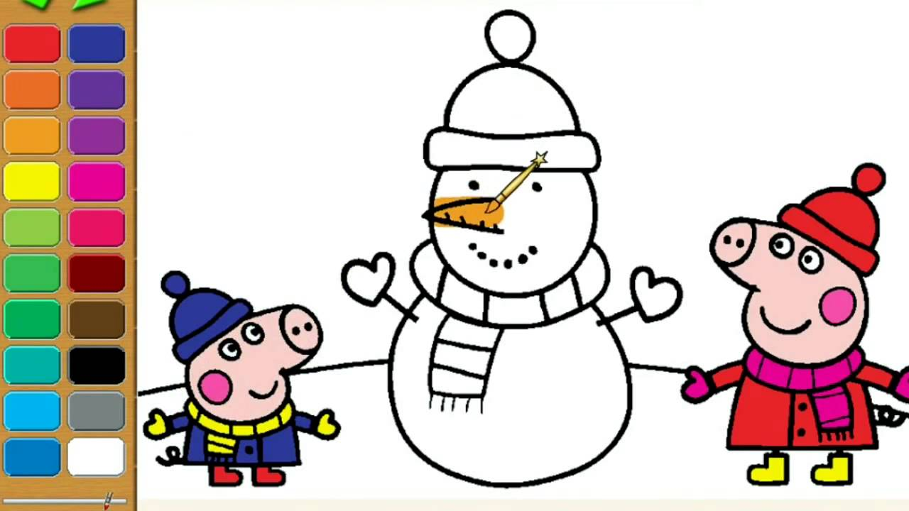 Peppa pig color pages - Peppa Pig Coloring Pages For Kids Peppa Pig Christmas Snowman Coloring Book