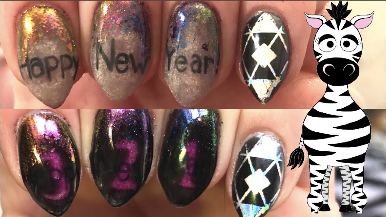 2018 Color Changing New Years Gel Nail Art Tutorial - YouTube