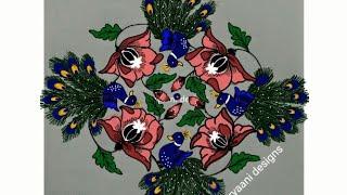Rangoli deaigns..peacocks ..flowers...easy N simple..9 to 9 dots