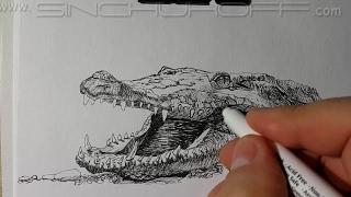 Рисуем крокодила линерами