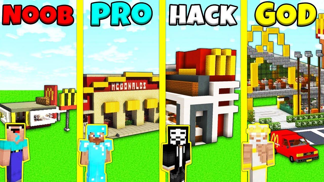 Minecraft Battle: MCDONALDS HOUSE BUILD CHALLENGE - NOOB vs PRO vs HACKER vs GOD / Animation