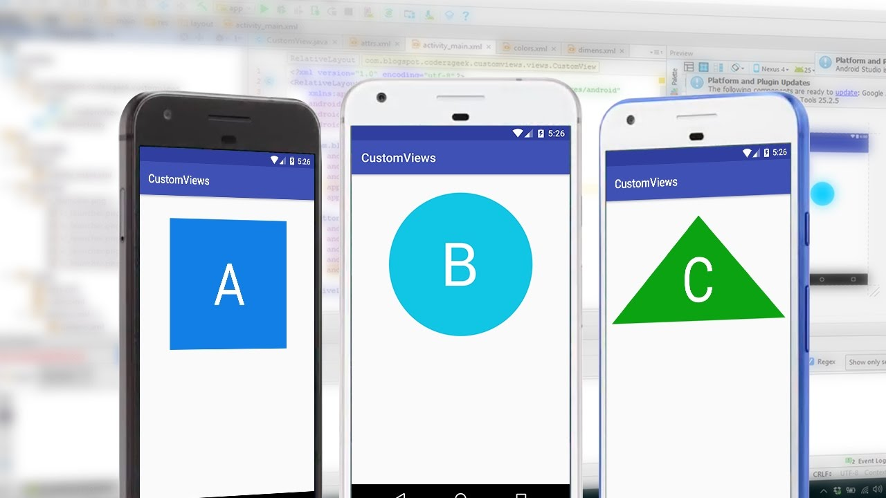 Android custom view tutorial shapes, images and custom.