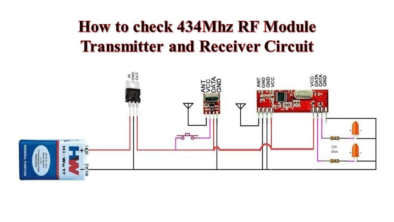 How To Check 434mhz Rf Module Transmitter And Receiver Circuit Youtube Diagram