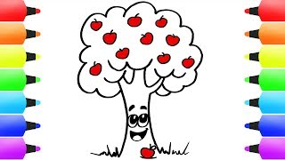 How to Draw a Tree for Kids! Cute Apple Tree, Fruits and Cartoon Rabbit Easy Drawings