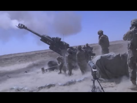 101st Airborne Fires Artillery At ISIS, Mosul, Iraq 2016