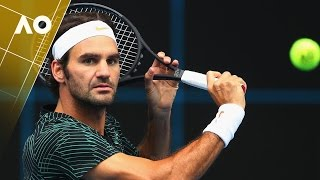 Federer Has His First Hit at Melbourne Park - Australian Open 2017
