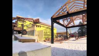 Time Lapse: 2 Story Roof Sheathing And Timber Frame Wall Goes Up 2015-1-2