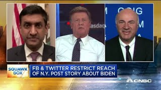Rep. Ro Khanna and Kevin O'Leary on Facebook, Twitter restricting New York Post story