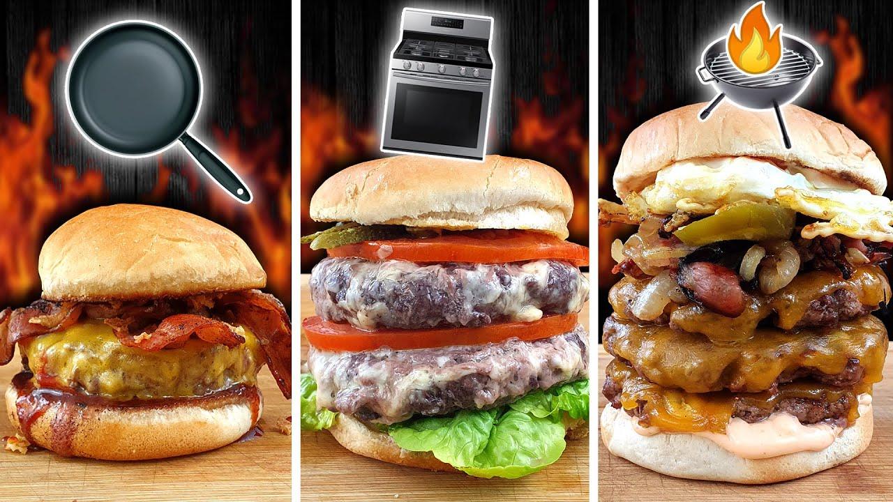 Sartén vs. Horno vs. BBQ Hamburguesas 🍔 ¿Cuál te GUSTA más?
