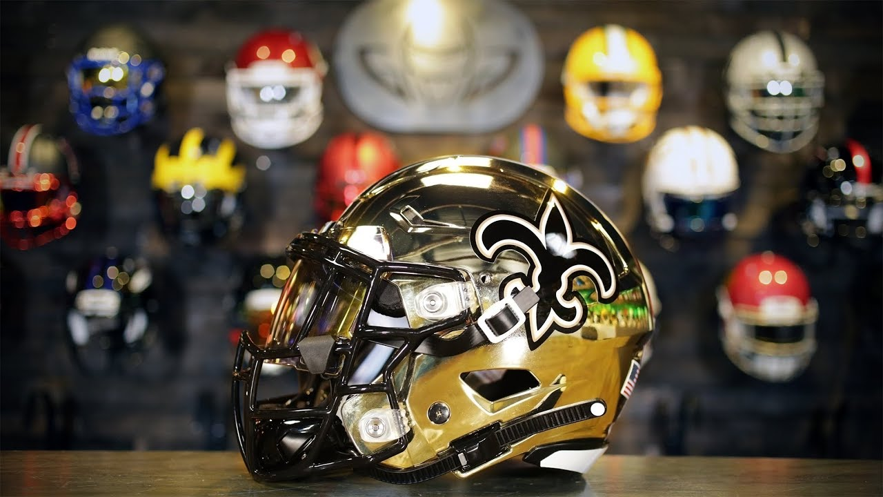 5c202f5d Who Dat? Chrome New Orleans Saints Riddell SpeedFlex Concept Helmet! |  HELMET BUILD