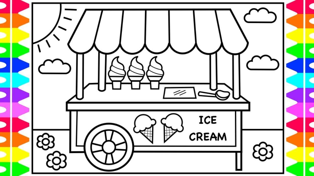 ice cream stand coloring pages - photo#2