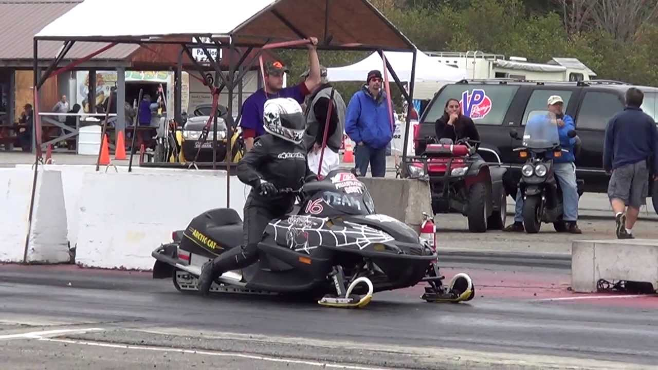 6 Second Twin Turbo Firecat! Snowmobile Drag Race On Asphalt (GIRL DRIVER)