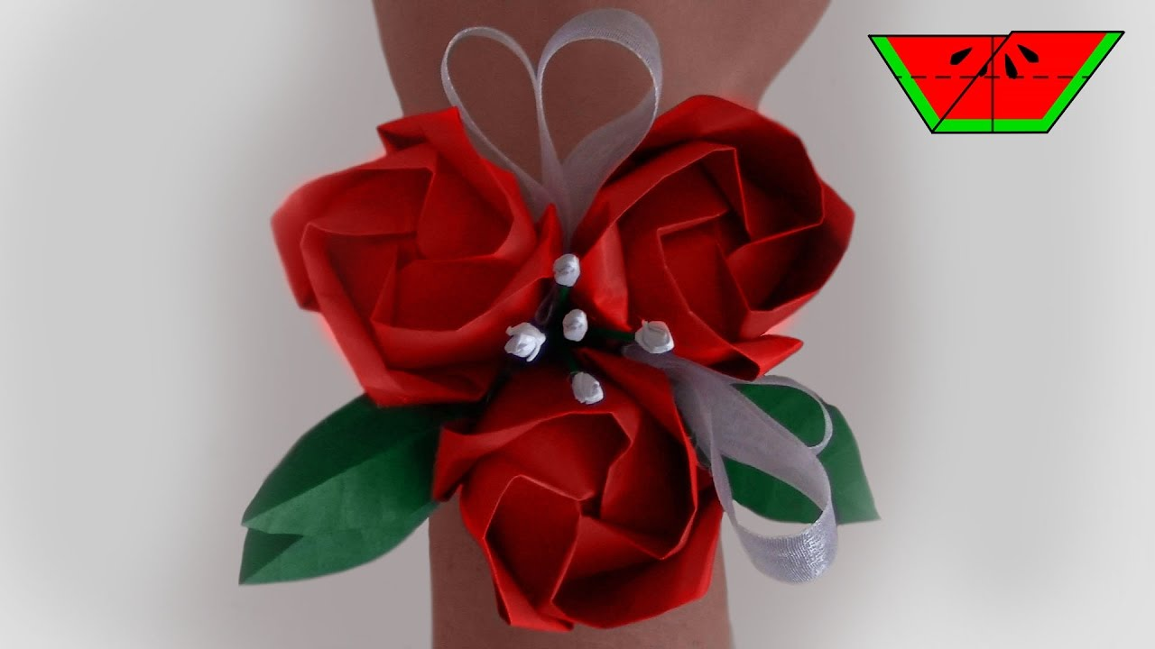 How To Make An Origami Corsage Paper Melon Youtube