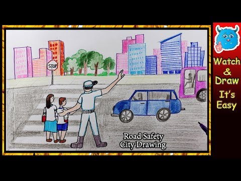 City Road Safety Drawing for Kids