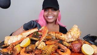 SPICY KING CRAB LEGS & SHRIMP SEAFOOD BOIL MUKBANG 먹방 EATING SHOW!