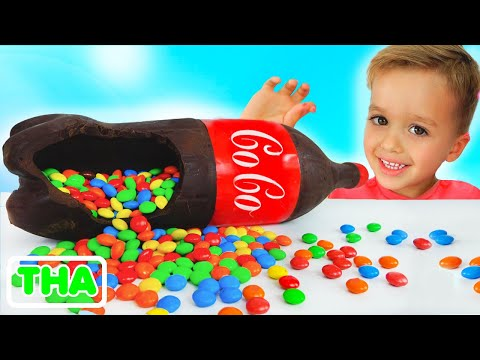 วลาดและนิกิช็อคโกแลตและโซดาท้าทายและเรื่องราวตลกมากสำหรับเด็ก