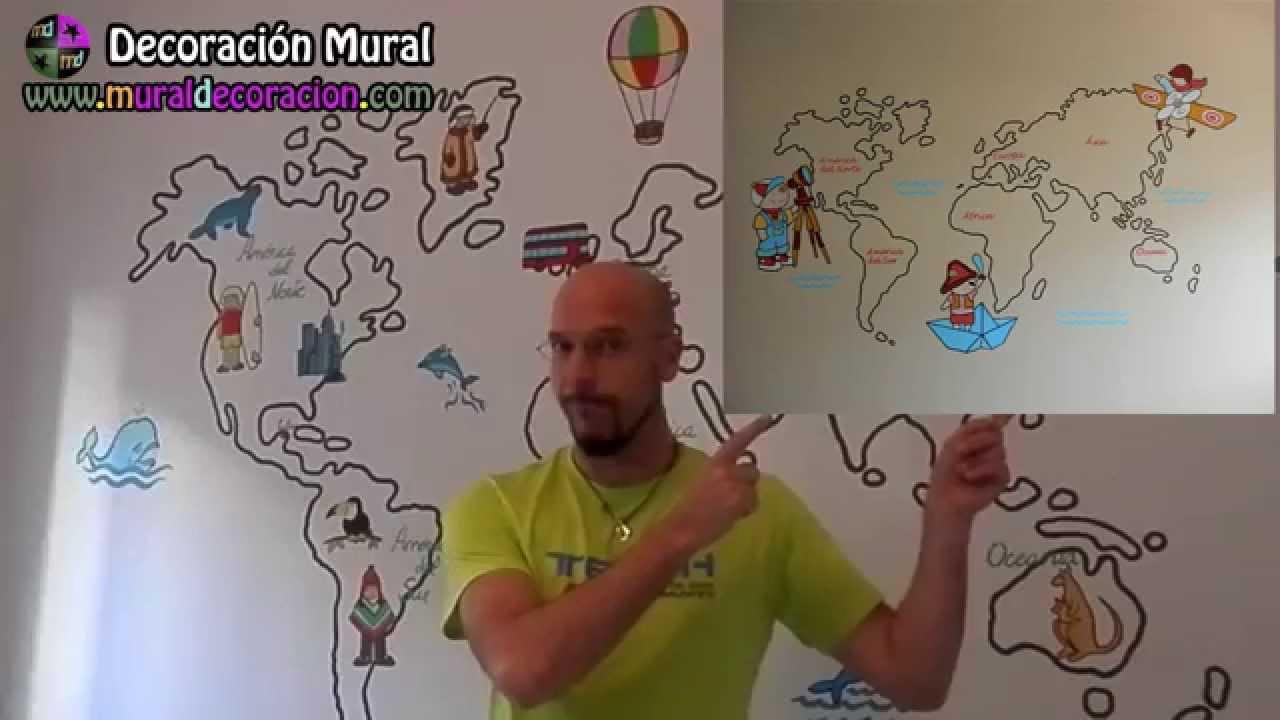 Decoraci n mural mapamundi murales infantiles en madrid - Mural pared infantil ...