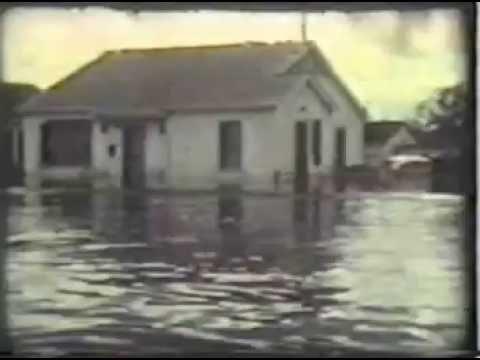 Hurricane Betsy, Sept. 1965. Chalmette, Louisiana.  Water level down 1.5 feet!