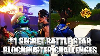 FREE AND SECRET BATTLE PASS STAR LOCATION! BLOCKBUSTER CHALLENGE #1 (Fortnite Season 4)