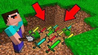 Minecraft NOOB vs PRO: NOOB DIGGING DIRT AND FOUND SECRET SWORD TREASURE ! Challenge 100% trolling