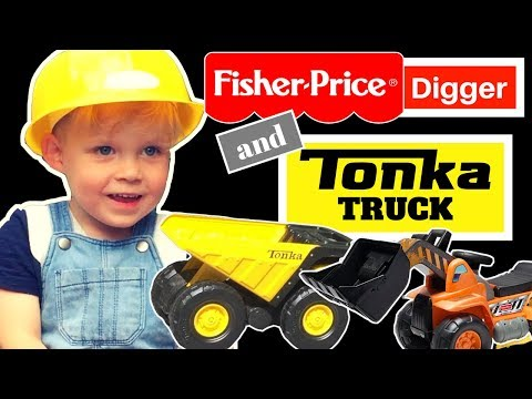 Kids Toys Tonka Truck And Fisher Price Digger - Archie The Builder!