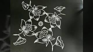 Daily kolam...Small and simple lotus rangoli...friday special...6 to 2 dots..