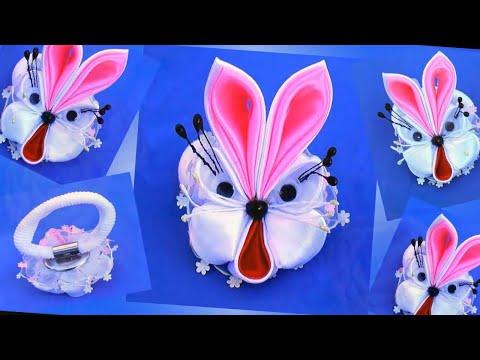 DIY craft ideas, How To Make a Bunny craft ribbons, Поделка зайчик из лент
