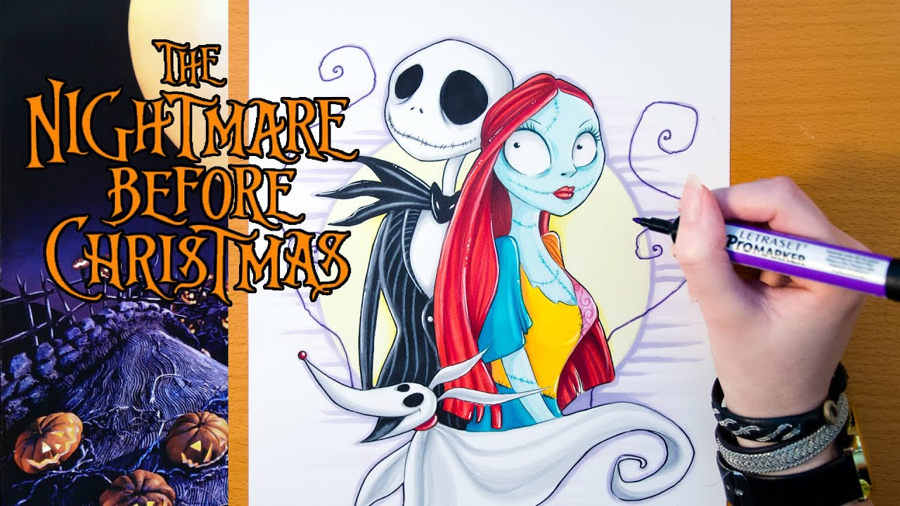 Speed Drawing THE NIGHTMARE BEFORE CHRISTMAS - YouTube