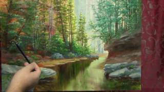 пишем пейзаж , продолжение (как рисовать деревья) видео - 3(продолжаем работу над пейзажем , рисуем реку ,камни., 2016-12-05T04:43:14.000Z)