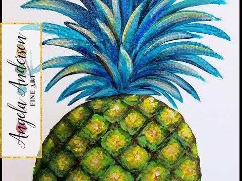 Pineapple Acrylic Painting | Easy Step by Step Beginner Paint Tutorial | DIY Modern Kitchen Art