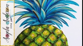 Pineapple Acrylic Painting | Easy Step by Step Beginner Paint Tutorial | DIY Modern Kitchen Art