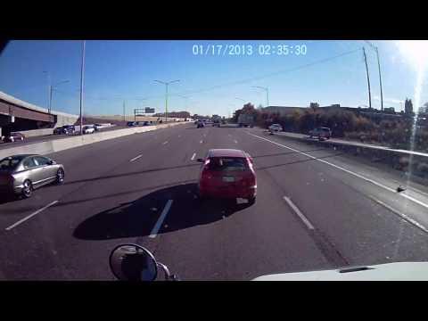 Crazy driver cutting off truck