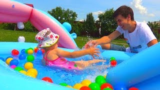 Kids Indoor Swimming Pool Playtime with Color Balloons