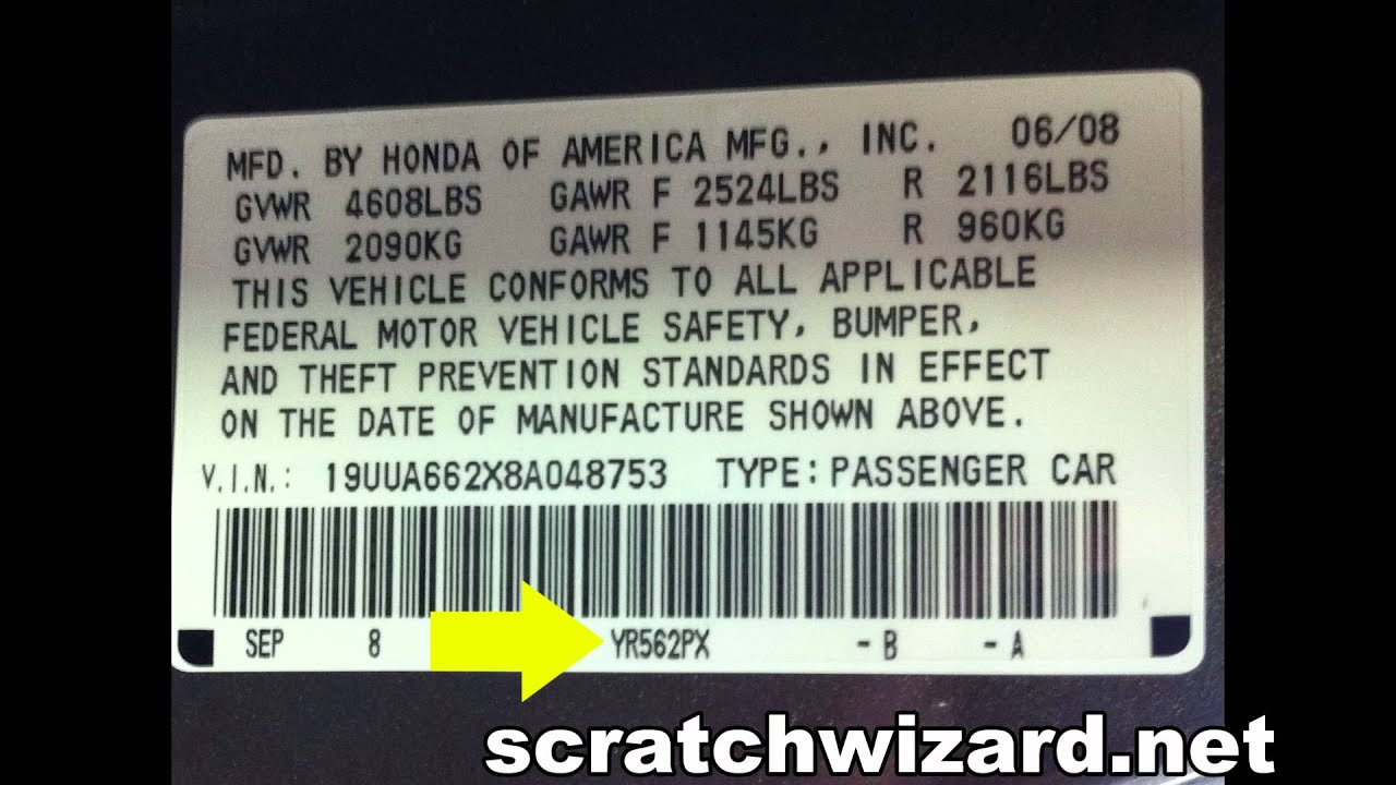 Acura Tl Paint Codes