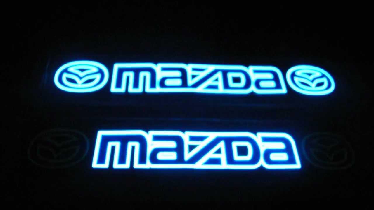 Неоновая эмблема MAZDA МАЗДА на  стекло автомобиля.avi