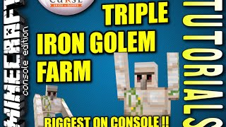 MINECRAFT - PS4 - TRIPLE IRON GOLEM FARM - AUTOMATIC - TUTORIAL ( PE / PS3 / XBOX / WII U )
