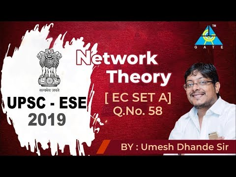 ESE 2019 - PRE | EC | NETWORK THEORY | SET A | Q.No 58