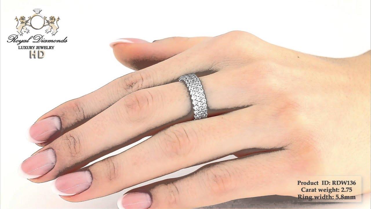 Verighetainel Eternity Aur Alb 18kt Cu Diamante Rotunde In 3