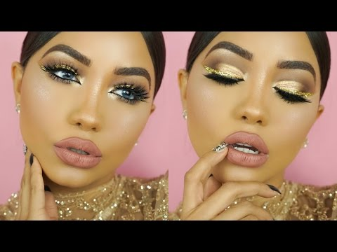 NEW YEARS EVE GOLD GLITTER MAKEUP TUTORIAL