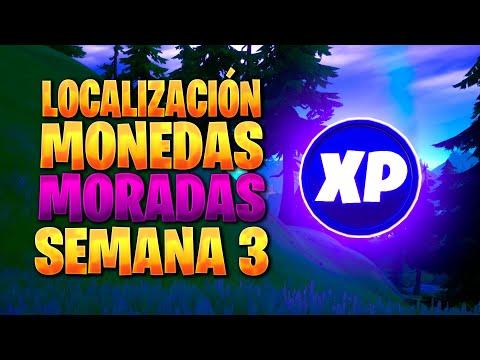 UBICACION DE TODAS LAS MONEDAS DE EXPERIENCIA MORADAS DE LA SEMANA 3 TEMPORADA 4 DE FORTNITE