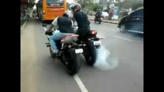 bike burnout FZ 1 1000cc and yamaha R6 at kochi oberon mall