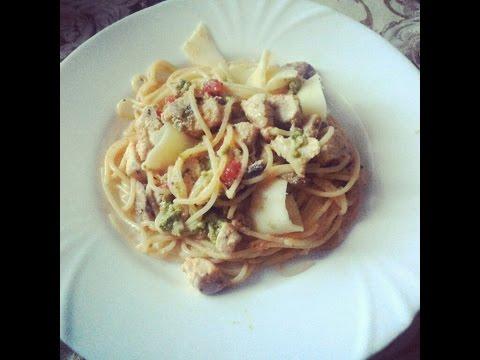 Спагетти с грибами и курицей