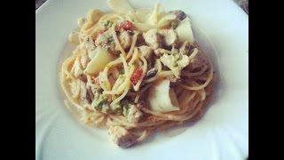 Паста с курицей и грибами в сливочном соусе ★ Итальянская кухня