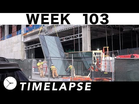 Construction time-lapse with 33 closeups: Week 103: Glass curtain wall, cranes, and more