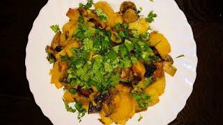Вкусная Жареная Картошка с Шампиньонами Рецепт Приготовления