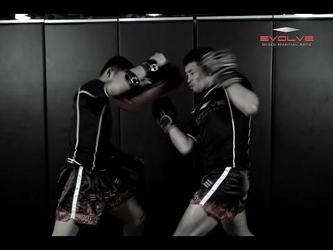 Muay Thai - Right-Overhand, Hook, Uppercut Knockdown- Fight Breakdown | Evolve University