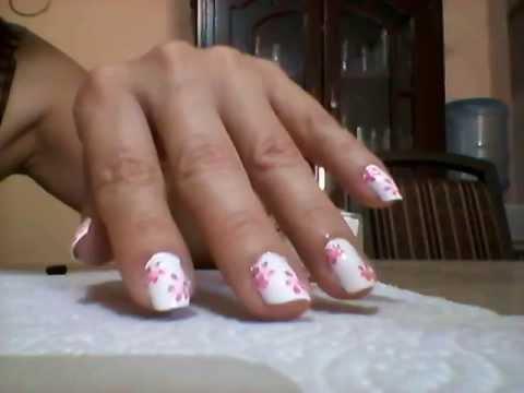 Decorado de u as blanco con flores rosas by angy youtube - Decorados de unas ...