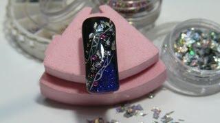 Дизайн ногтей: Новогодняя ночь: Новогодний дизайн ногтей.
