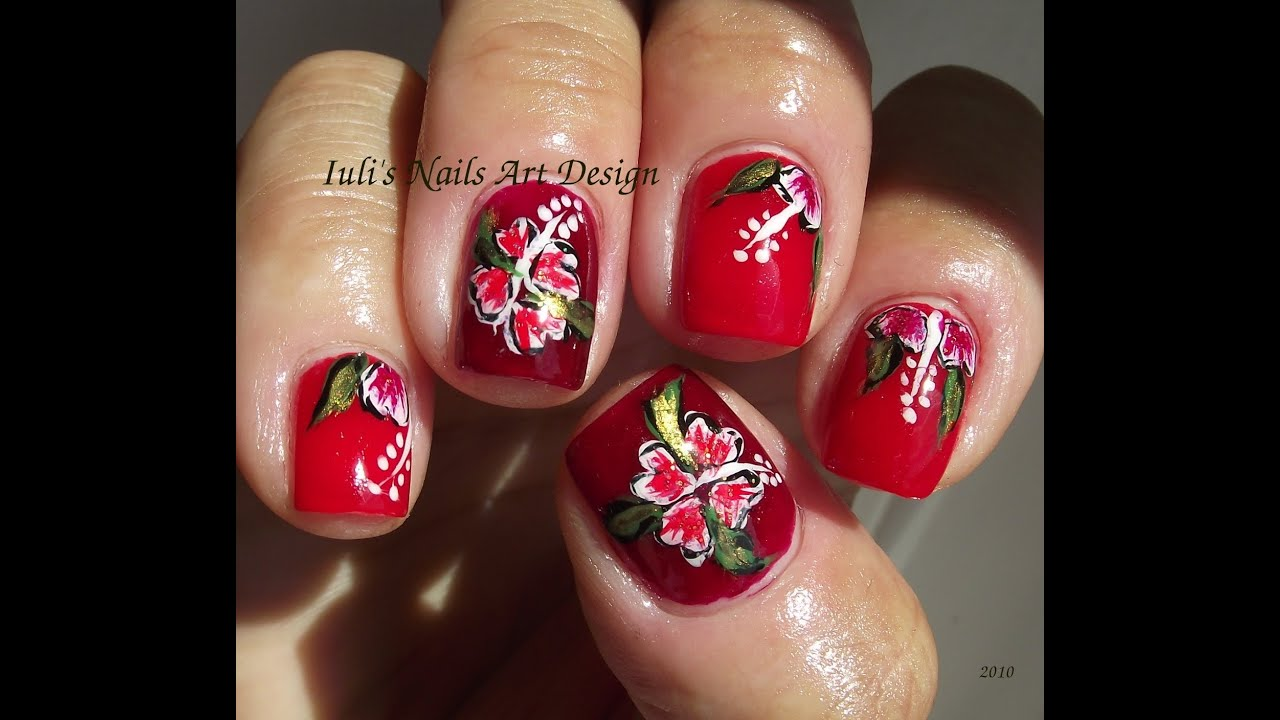 Easy Hawaiian hibiscus flower for beginners nail art