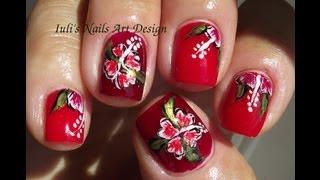 Easy Hawaiian hibiscus flower for beginners nail art design Summer 2013